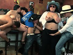Massive tits chubby girls gang group orgy