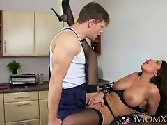 MOM French brunette Anissa Kate fucks the plumber in stockings and lingerie