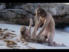 horny art sex of horny couple on beach