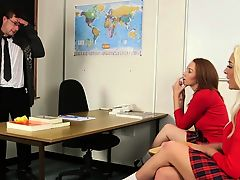 CFNM schoolgirl babes jerking off teacher