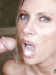 Busty Blonde Bobs On Knob And Rides Cock