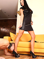 Leashed slave goes through harsh CBT treatment before licking domina's feet