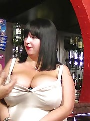 Chunky barmaid fucks customer