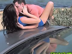 Real girlfriend gets oral sex outdoors