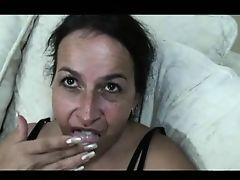 Sweet Saggy Nina Dildoes Her Hairy Hole B4 Cock