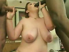 Brunette BBW threesome