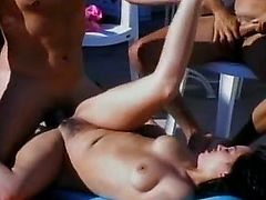 Getting tanned by the pool