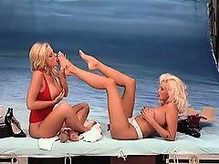 Sexy blonde lesbians get horny sucking