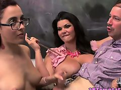 Hot teen and stepmom make teacher cum