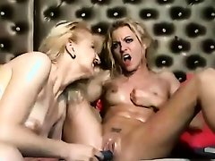 Webcam Lesbians Share A Double Dildo
