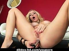Blonde hottie Annette Schwartz drills her holes with toy