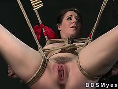 Hairy tied up sub vibed to squirting in lezdom