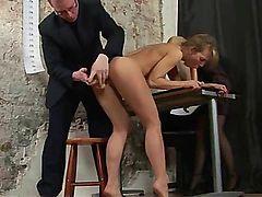 Kinky dildo testing for secretary position