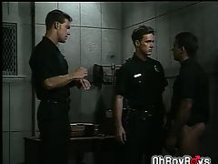 Cops threesome blowjob and anal fucking