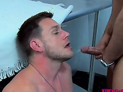 Buttfucked british doctor facialed by stud