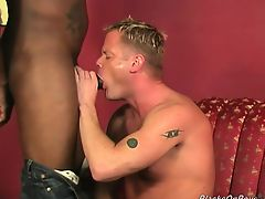 Muscular blonde gets assbanged by blacks