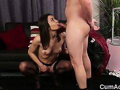 Horny stunner gets jizz load on her face gulping all the jiz
