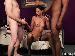 Sexy bombshell gets cumshot on her face swallowing all the j